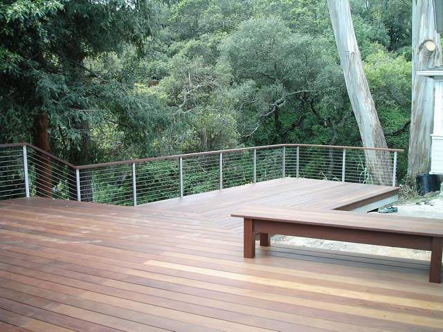 Stainless Steel Railing Posts with Wooden Top Rail